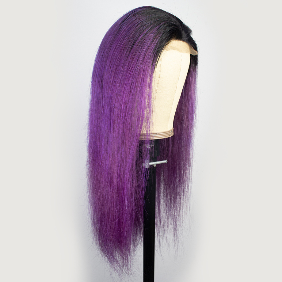 Ombre 4x4 Closure Wig Bone Straight  Wigs  T1b/99j   Cosplay Wig Lace Frontal Wigs 2