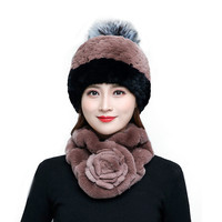 New Listing 100% Authentic Rex Rabbit Hair Ladies Hat And Scarf Suit Comfortable Warm Retro Fur Casual Hat Ladies Scarf