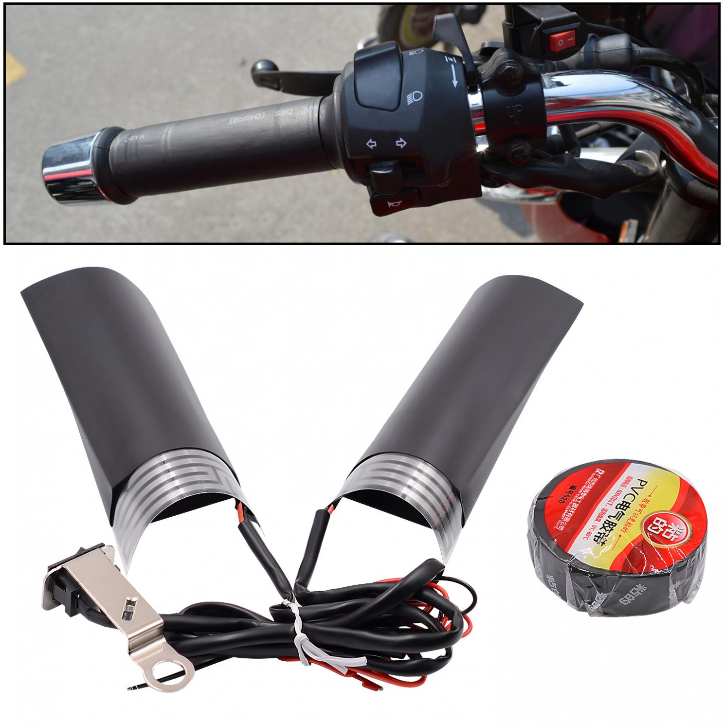 1 Pair 12V 20W Motorcycle Motorbike Handlebar Universal Electric Heating Handle Heated Grips With Adjustable Switch Temperature