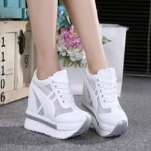 High Quality Women Mesh Platform Sneakers Trainers White Sho