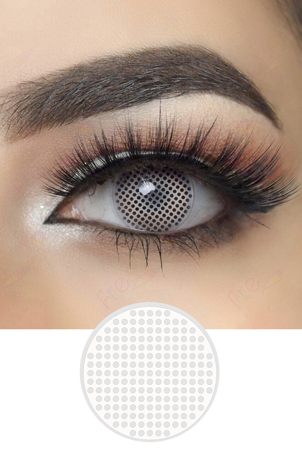 White Mesh Halloween Contacts White Crazy Lenses