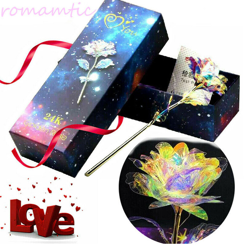 Luminous Rose Eternal Flower Valentine Gift Party Anniversary Luminescence 24K Gold Foil Romantic Beautiful Props Wedding in Artificial Dried Flowers from Home Garden