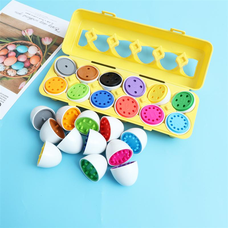 1 Set Matching Eggs Count and Match Shapes Colors Educational Toys Set Puzzle Sorting Eggs Game for Boys and Girls Random Color
