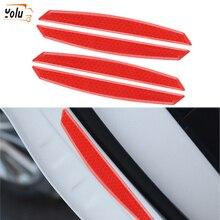 YOLU 4 Pcs Car Door Reflective Sticker Warning Tape Anti-Dash Bumper Strip Safety Driving Auto Accessory