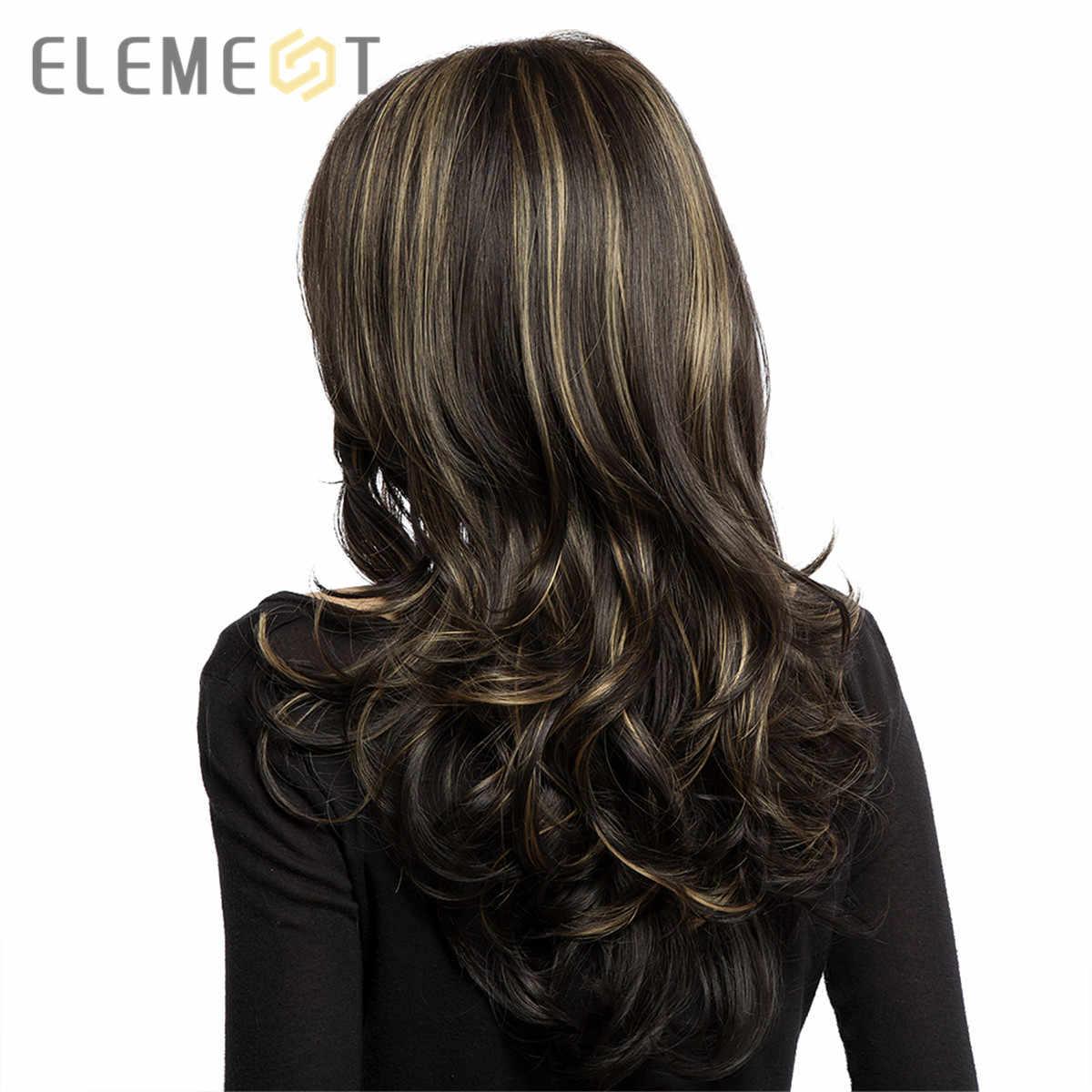 Pelucas largo ondulado de fibra resistente al calor con flequillo lateral sintético marrón mezclado pelucas rubias para mujeres blancas/negras
