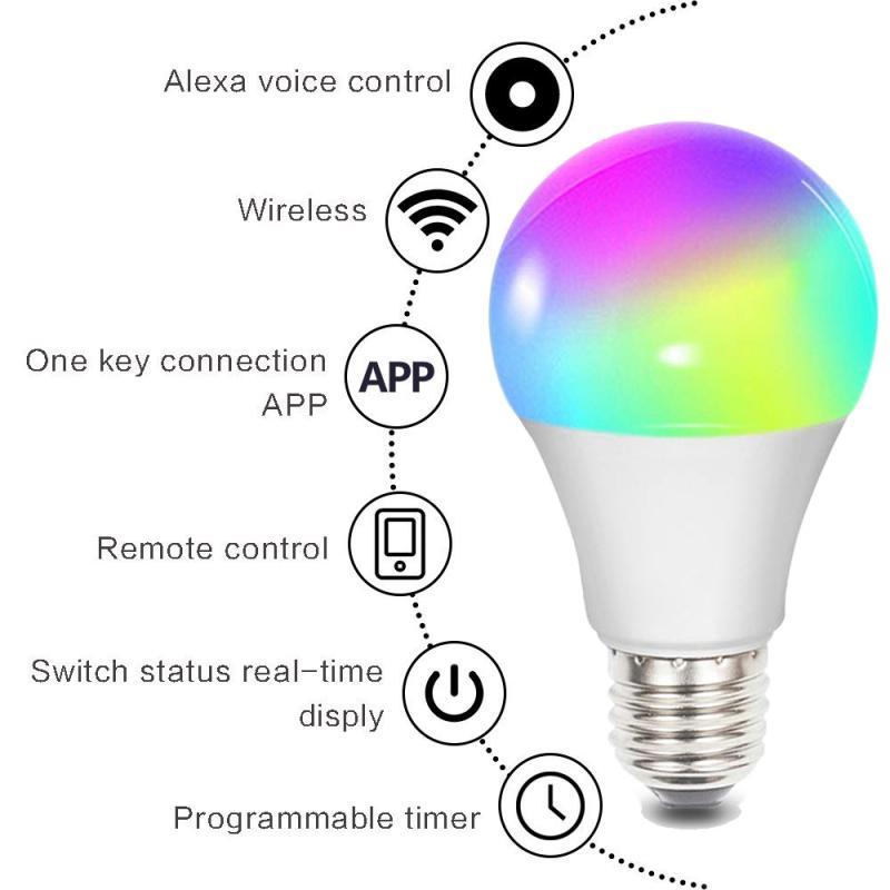 Led Smart WiFi Bulb Led Light E27 B22 E26  RGBW Color Changing LED WiFi Light Lamp For GoogleHome Alexa Siri Echo Remote Control
