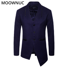 Fashion Woollen Overcoat Winter Autumn Mens Coats Male Fit Business Smart Casual Thick Blends Brand Clothes MOOWNUC MWC