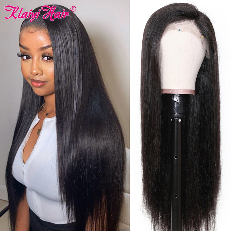 Klaiyi Hair Brazilian Straight Lace Front Wig Remy Hair 13X4 13X6 Lace Front Wig Pre Plucked Straight Human Hair Wigs For Women