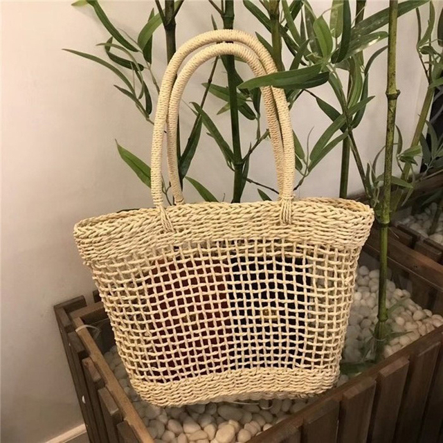 Women Straw Shopping Basket Beach Tote Summer Shoulder Bag Handbag 1