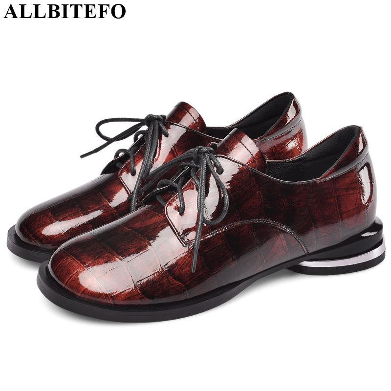 ALLBITEFO High Quality Genuine Leather High Heel Shoes Elegant Women Heels Spring Autumn High Heels Frenulum Office Ladies Shoes
