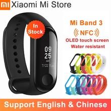 В наличии умный Браслет Xiaomi Mi Band 3 NFC умный Браслет большой сенсорный экран OLED экран фитнес сообщение Сердце водонепроницаемые версии CN Smartband