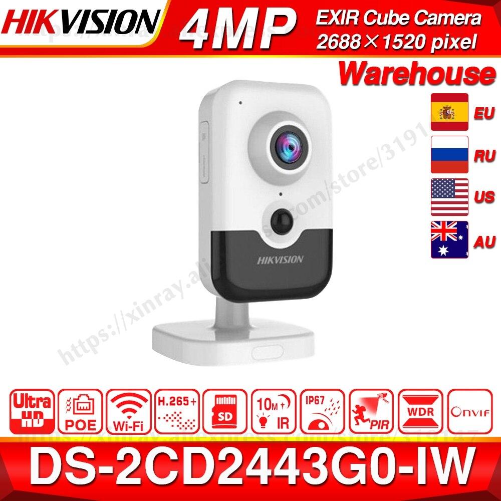 Hikvision DS-2CD2443G0-IW caméra Wi-Fi Surveillance vidéo 4MP IR caméra IP sans fil Cube fixe Audio bidirectionnel H.265 +