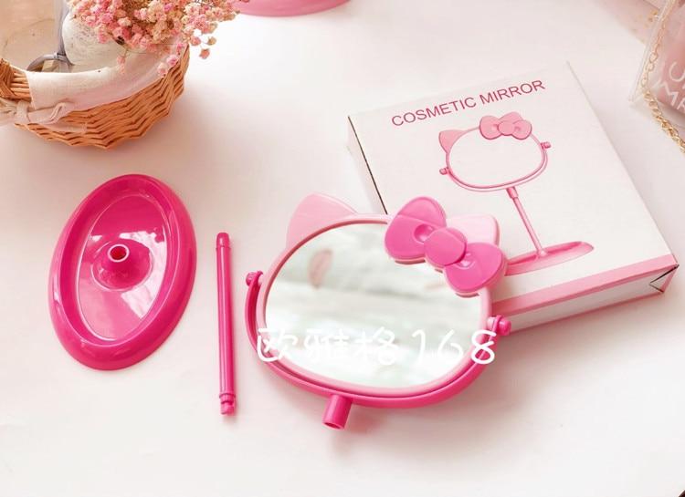 Мягкий розовый сладкий восхитительный Кот бантик для головы макияж зеркало Настольный Вращающийся двухстороннее зеркало комод с хранения ювелирных изделий
