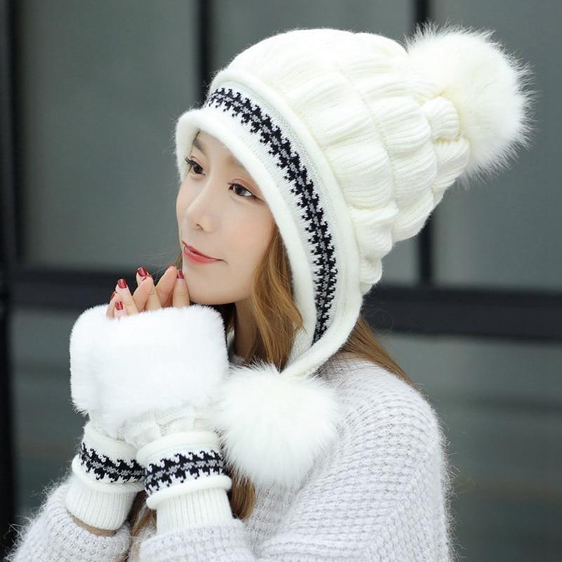 Warm Women Cap Gloves Set Faux Fur Winter Hat Gloves Sets Fashion Windproof Ear Flap Beanie Bonnet