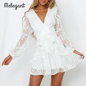 Image 1 - Melegant Sexy White Lace Ruffle Dress Embroidery Party Dress Women Autumn Winter Long Sleeve Transparent Mesh Mini Dress Vestido