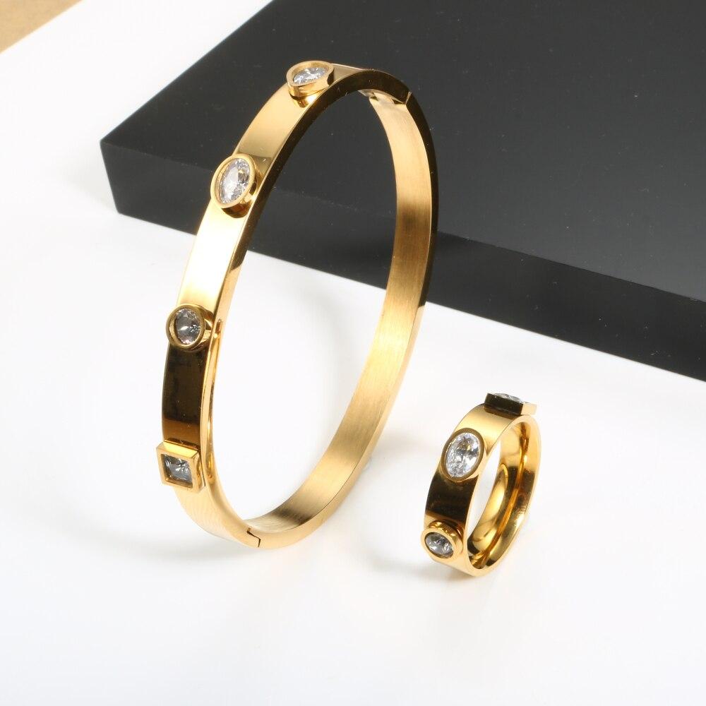 Купить 4 шт женский браслет с фианитами из нержавеющей стали