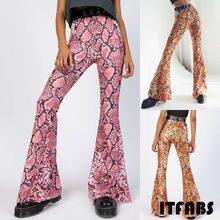 Goocheer Women's Sexy Flare Snakeskin Bell Bottom Stretch High Waist Pants Trousers Women Long Snake Pants 2019 ethnic snake pattern print flare pants women bohemian tribal african print long trousers bell bottom leggings hippie pants