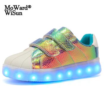 Rozmiar 25-37 dzieci świecące buty z podświetlaną podeszwą dziecięce trampki z diodami LED USB ładowane świecące chłopięce buty sportowe typu Sneakers Girls tanie i dobre opinie moward wisun 7-12y 12 + y CN (pochodzenie) Wiosna i jesień Unisex Dobrze pasuje do rozmiaru wybierz swój normalny rozmiar