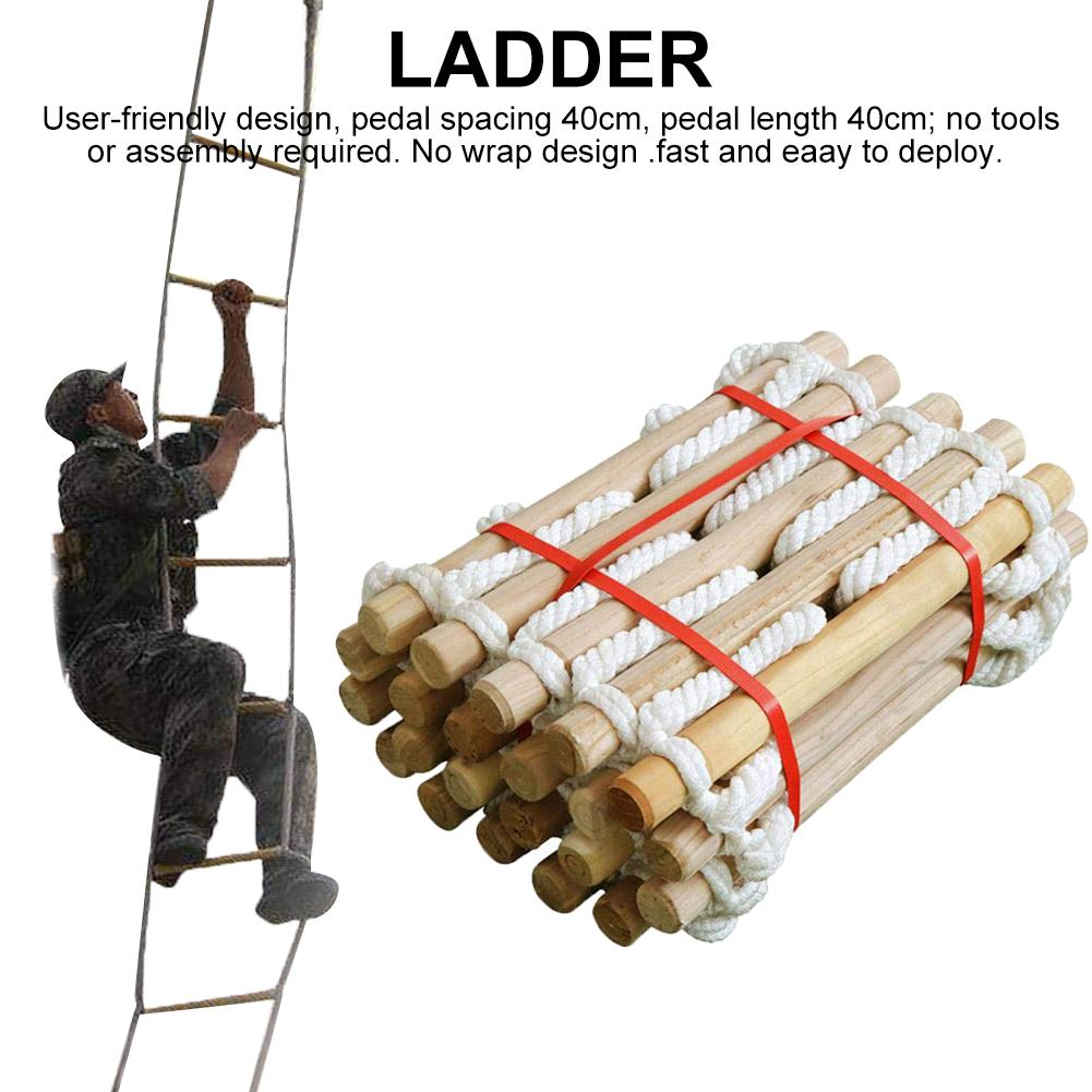 3/5m Wood Nylon Rope Outdoor Rescue Fire Escape Emergency Lifesaving Ladder