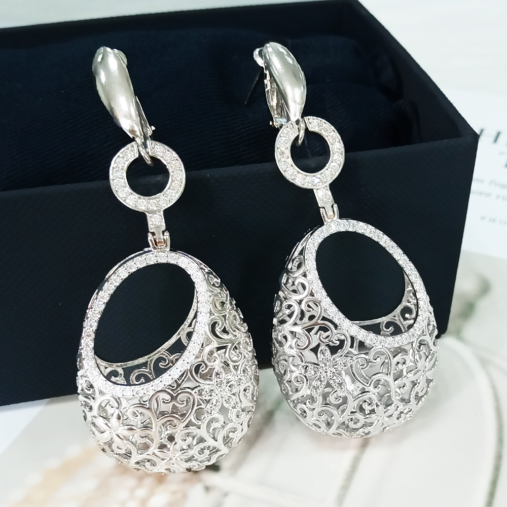 Cubic Zirconia Gold Drop Earrings Long Earrings For Women High Quality New Trendy Jewelry Accessories For Young Girl Sexy(China)