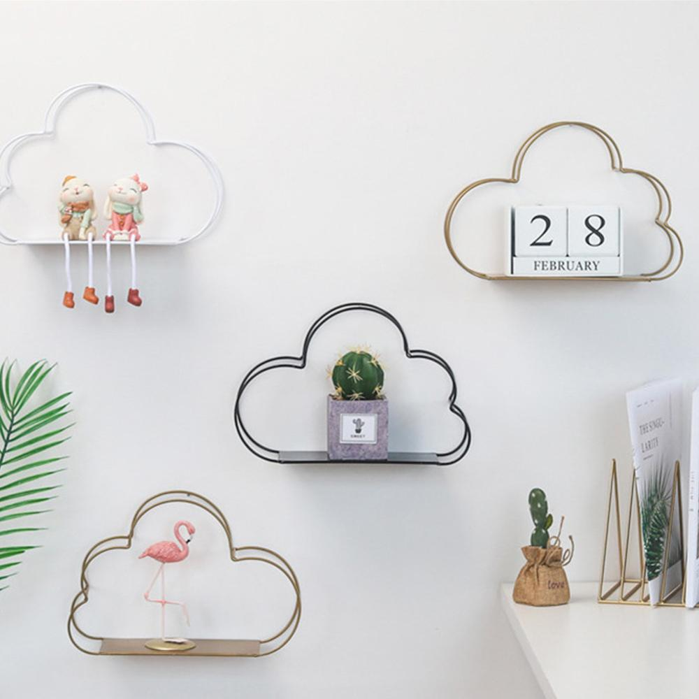 Wall Shelf Metal Cloud Shape Iron Receiving Frames Shelf Wall Hanging Storage Holders Living Room Office Decoration Shelfs