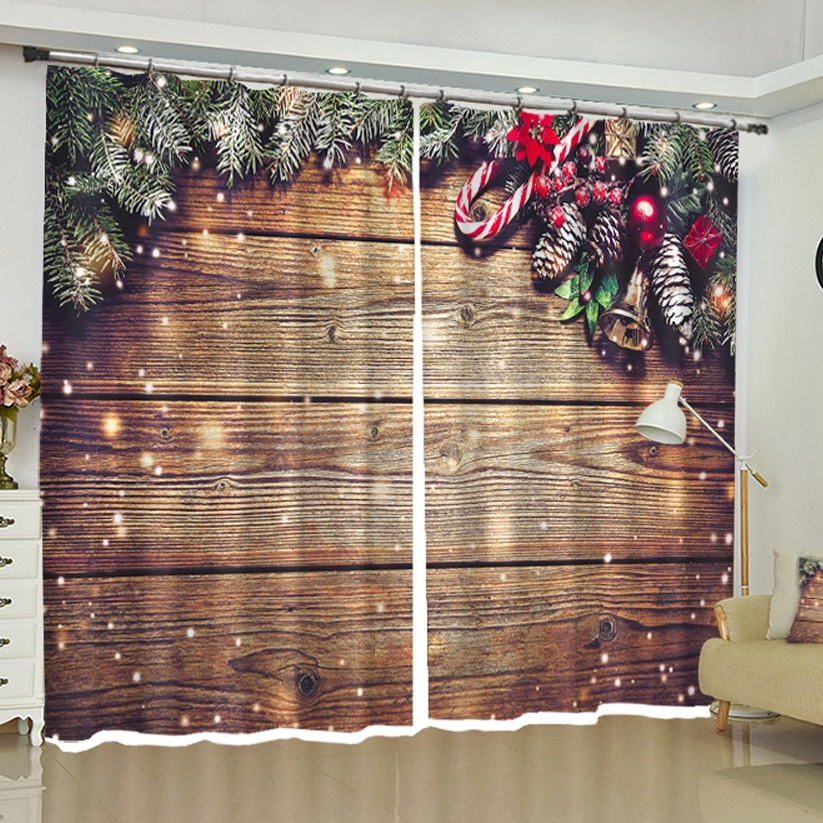 Christmas Curtains Blackout Custom Window Drapes For Bedroom Living Room Kitchen Office Party Backdrop Fabric Home Decorations