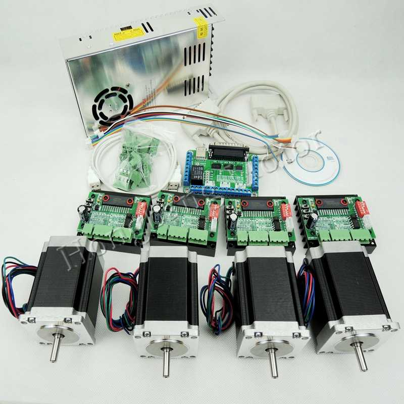 Ship from EU, CNC Router Kit 4 Axis,4pcs TB6560 stepper motor driver+interface board+4pcs Nema23 270 Oz-in motor+power supply