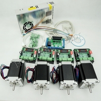 Ship from EU, CNC Router Kit 4 Axis,4pcs TB6560 stepper motor driver+interface board+4pcs Nema23 270 Oz in motor+power supply