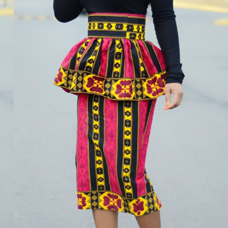Women Printed Skirt Bodycon African Fashion Floral Peplum Knee Length Modest Elegant Classy Ladies Work Office Fahion Jupe Falda