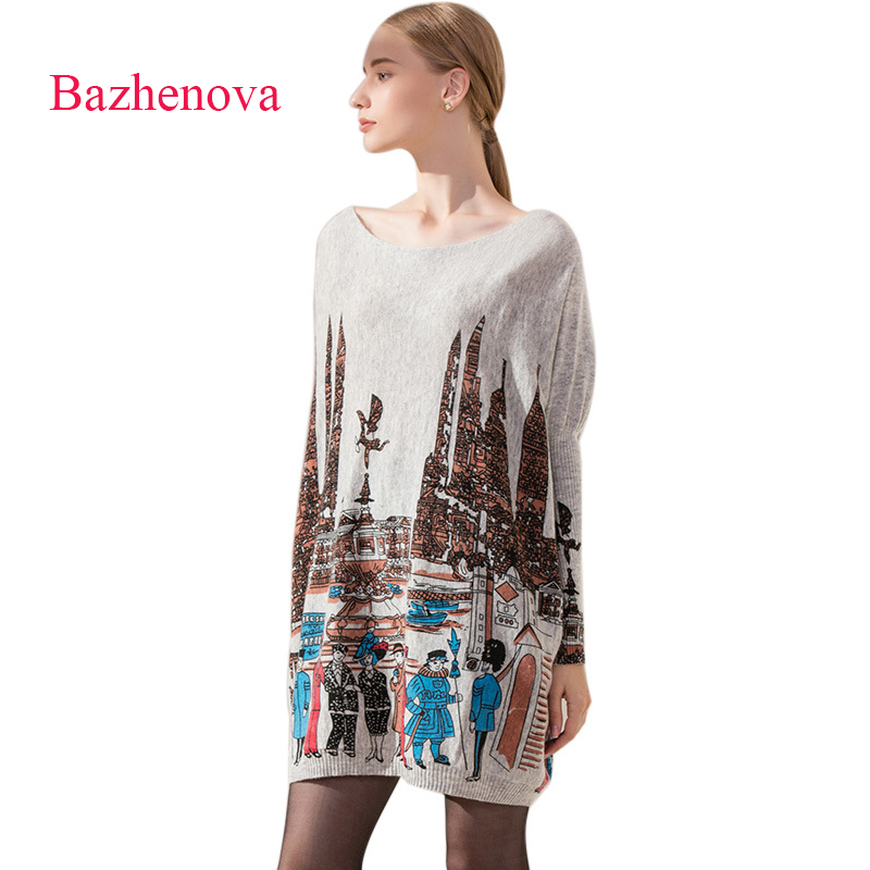 Bazhenova Women Slash Neck Printing Sweaters Girls Loose Simple Sexy Batwing Sleeve Long Tops Woman Elegant Autumn Swater <font><b>R307</b></font> image
