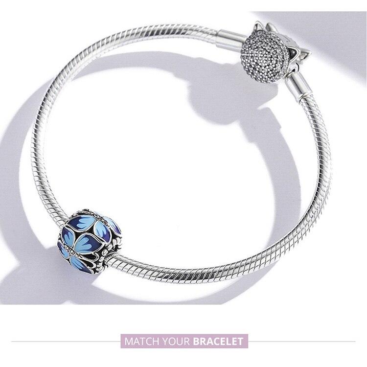 charm bracelet Stackable Vintage Butterfly Beads 925 Sterling Silver Round Enamel Charm Fit Women Original Bracelet & Bangle DIY Jewelry