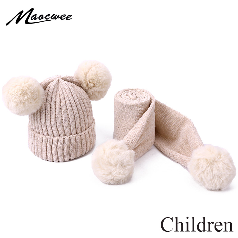 Cute Baby Pompon Hat Scarf Set Thicken Warmer Children Hat Scarf For Girls And Boys Knitted Kids Caps With Lining Two Piece Sets