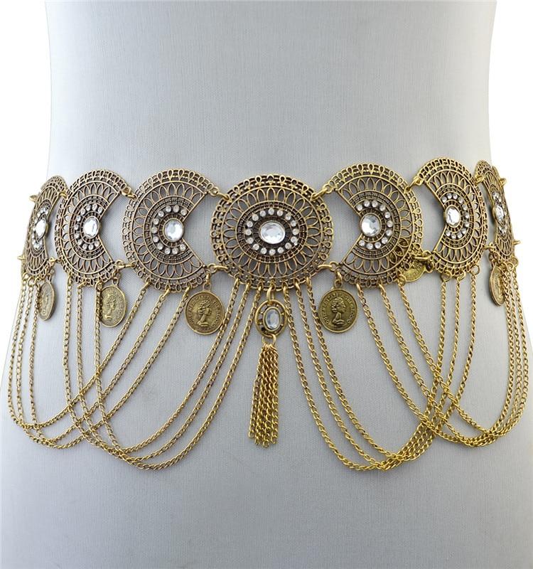 Fashion Retro Coin Tassel Waist Chain Dance Leisure Popular Indian Yoga Body Chain Tassel Coin Pendant Waist Belt Jewelry