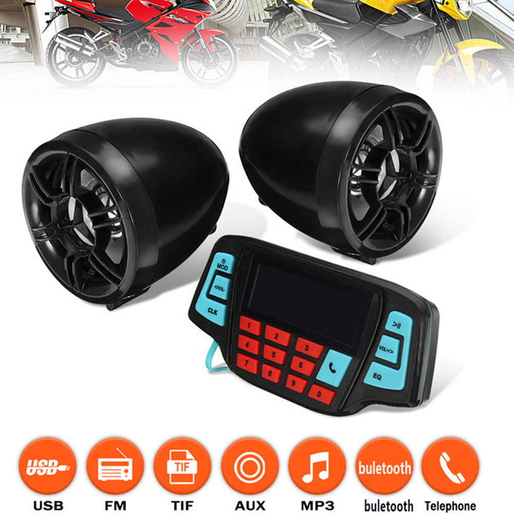 Stereo Motorcycle Audio Built In Alarm Practical Accessories Outdoor LCD Screen Bluetooth Simple To Use Anti Theft Waterproof