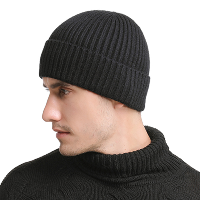 Men's Solid Color Autumn And Winter New Knitted Cotton Caps Warm And Comfortable Loose Women's Universal Man's Hats Beanies Male