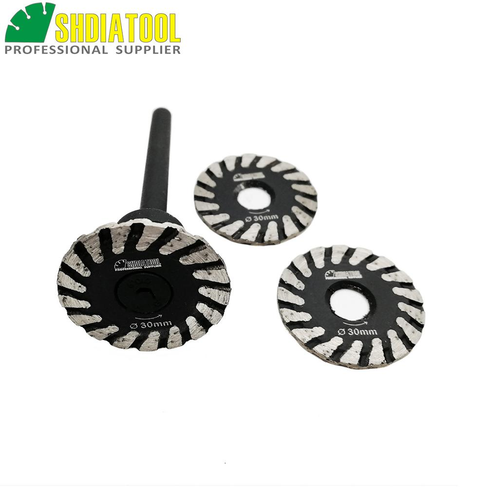SHDIATOOL 1 Pc Hot Pressed Diamond Turbo Mini Engraving Saw Blade With Removable 6mm Shank And 2pcs Blades Without Shank