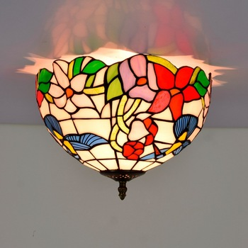 30cm European-Style Retro Pastoral Bird Tiffany Multi-Color Glass Restaurant Aisle Corridor Bathroom Glass Ceiling Lamp american pastoral rose three restaurant tiffany pendant lamp