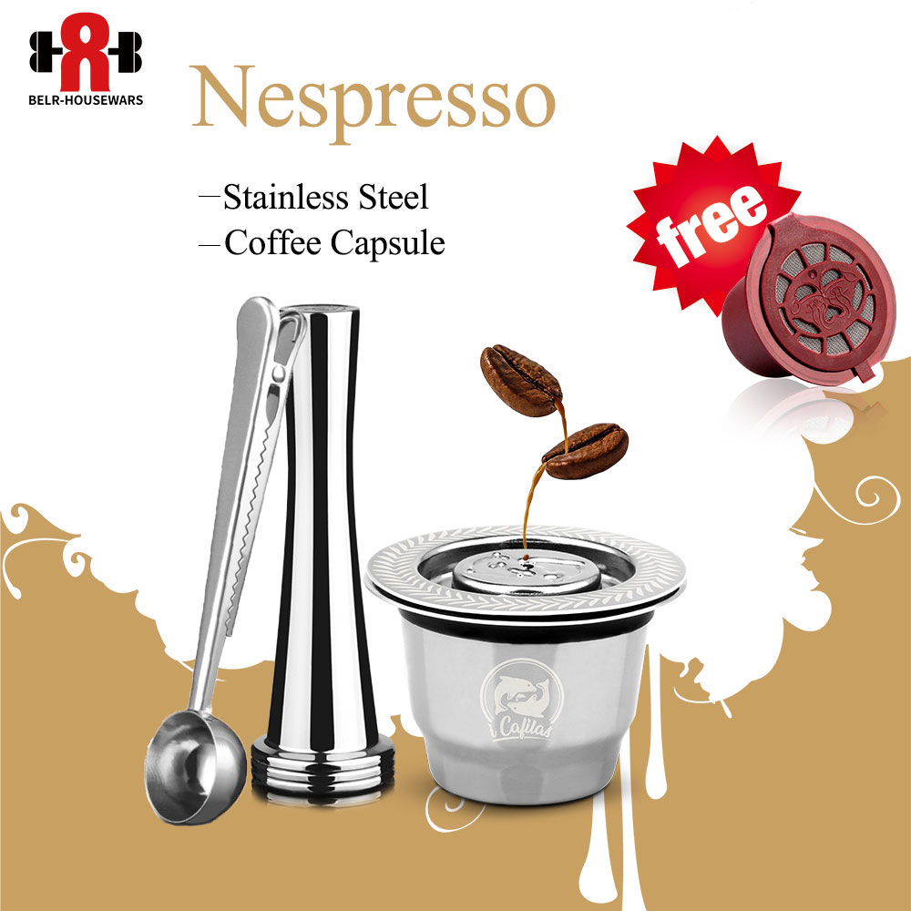 Capsula Nespresso Refillable Capsule Stainless Steel Reusable Coffee Filter For Nespresso Cafeteira Dripper Filters Tamper Spoon