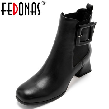 FEDONAS Classic Short Boots Women Genuine Leather Ankle Boots Office Party Shoes Autumn Winter Warm Chelsea Boots High Heels