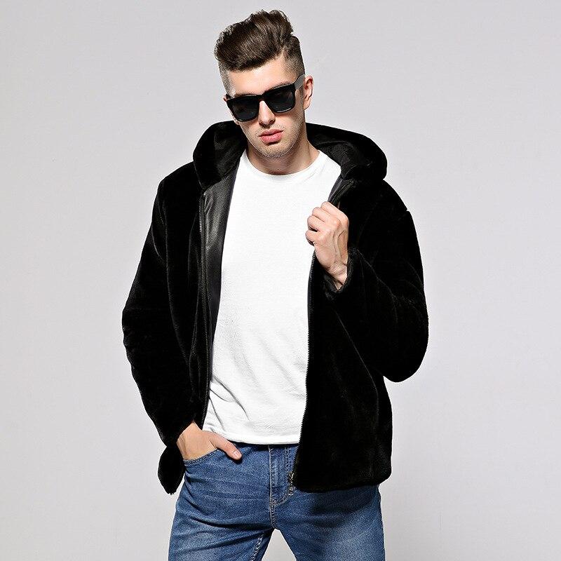 Новая мужская меховая куртка, Осень зима, Корейская версия, шапка из меха, утолщенная, большой размер, норка, мужской мех