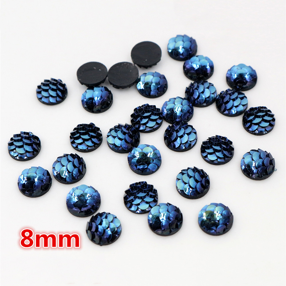 New Fashion 8mm 40pcs Ice Blue Colors Fish Scales Style Flat Back Resin Cabochons For Bracelet Earrings Accessories-O5-27