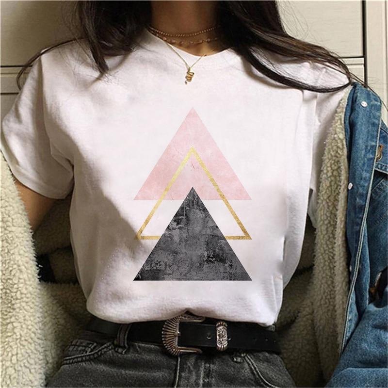 Beautiful geometry printed t shirt women 90s Graphic T-shirt Harajuku Tops Tee Cute Short Sleeve animal tshirt Female Tshirts