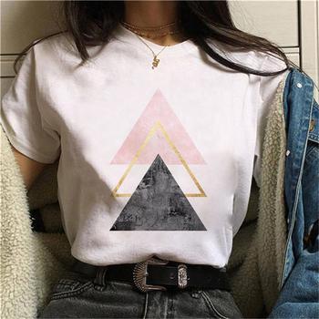 Piękny nadruk w geometryczne wzory T Shirt kobiety 90s graficzny T-shirt koszulki w stylu Harajuku Tee śliczny krótki rękaw T-shirt ze zwierzętami kobiece koszulki tanie i dobre opinie REGULAR Sukno CN (pochodzenie) Lato COTTON POLIESTER NONE tops Z KRÓTKIM RĘKAWEM SHORT Dobrze pasuje do rozmiaru wybierz swój normalny rozmiar