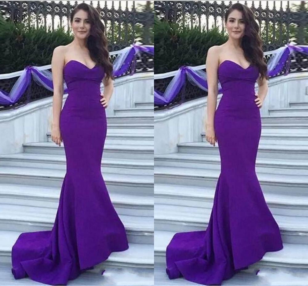 V Neck Formal Satin Long Evening Dresses 2020 Purple Prom Dress Mermaid Simple Fashion Hot Sale New robe de soriee Cheap