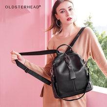Женский рюкзак laorentou черный из 100% натуральной кожи мягкий