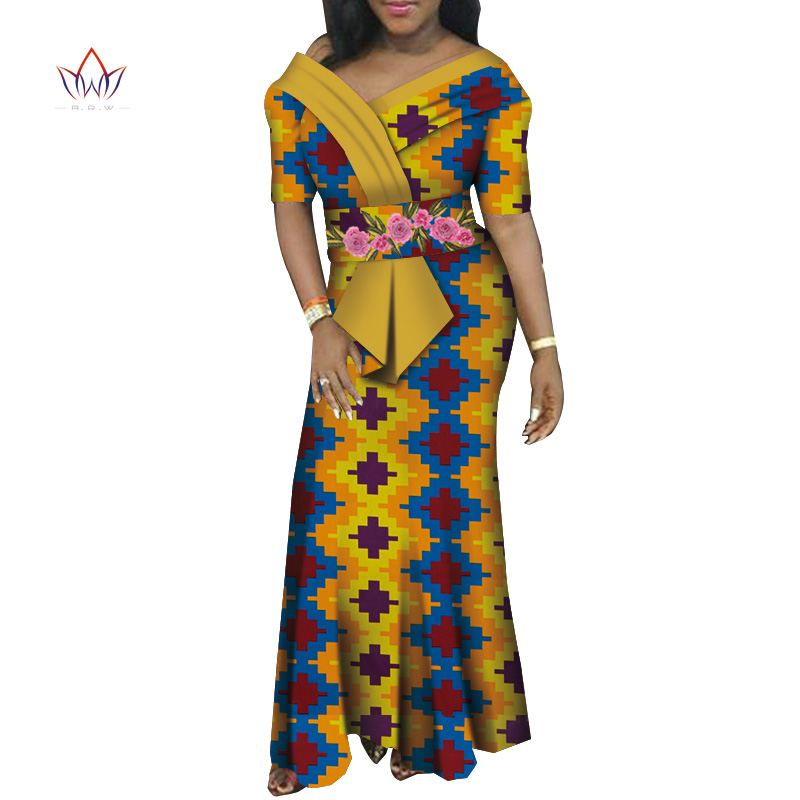 African Dresses For Women V-neck Africa Clothing Long Dress High Quality Short Sleeve Fashion African Dress For Lady WY6006