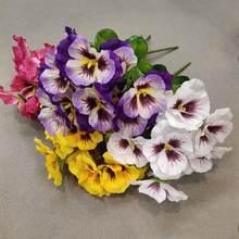 Искусственные цветы Htmeing 11 дюймов, искусственные Pansy цветы, шелковые искусственные бабочки, Орхидея, цветок для дома, офиса, свадьбы, украшен...