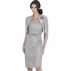 Серый 2019 платья для матери невесты облегающее до колен с курткой кружева бисером жениха короткие платья для матери для свадьбы