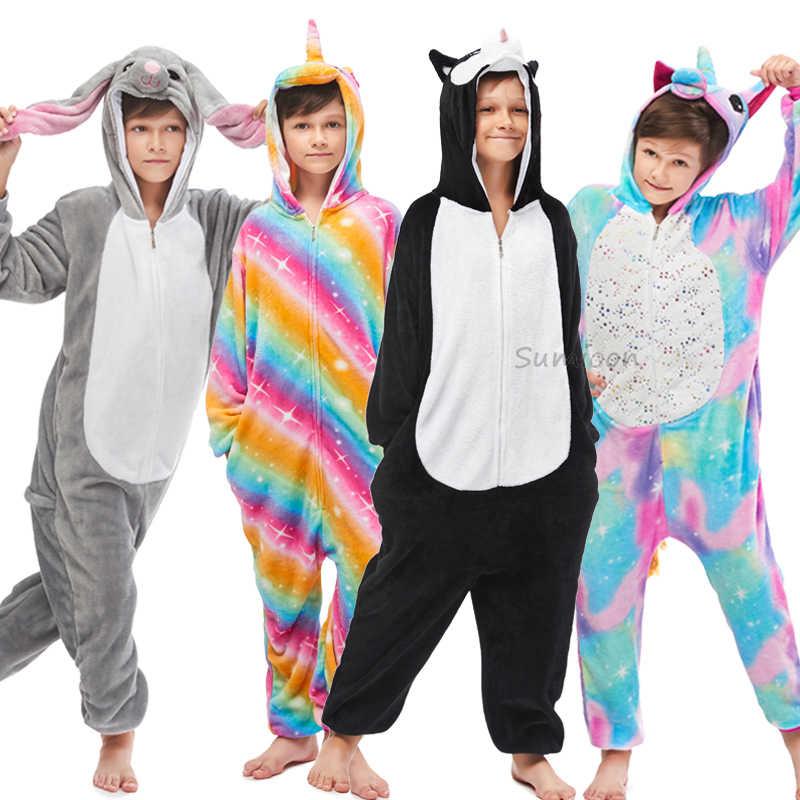 Kigurumi Unicorn Piyama Hewan Panda Onesie Anak Laki-laki Anak Perempuan Dewasa Pria Wanita Kartun Cospaly Baju Tidur Musim Dingin Piyama Anak-anak Overall