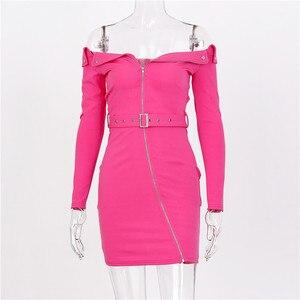 Image 5 - Hugcitar 2019 long sleeve slash neck  sexy mini dress with belt zipper patchwork autumn winter women streetwear party club outfi